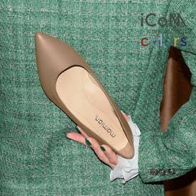 【 iCoN COLORS 】1.5cmヒール 痛くなりにくい 美脚 ポインテッドトゥ スムース カラーパンプス/C20143 (Dグレージュ)