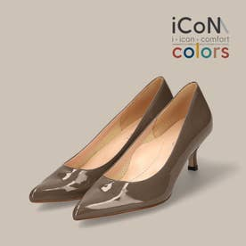 【 iCoN COLORS 】5.0cmヒール 痛くなりにくい 美脚 ポインテッドトゥ エナメル カラーパンプス/C57171 (DグレージュE)