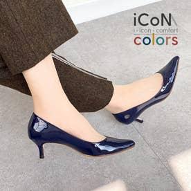 【 iCoN COLORS 】5.0cmヒール 痛くなりにくい 美脚 ポインテッドトゥ エナメル カラーパンプス/C57171 (ネイビーE)