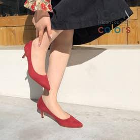【 iCoN COLORS 】5.0cmヒール 痛くなりにくい 美脚 ポインテッドトゥ スエード カラーパンプス/C57172 (ボルドーS)
