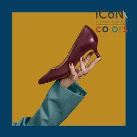 【 iCoN COLORS 】5.0cmヒール 痛くなりにくい 美脚 ポインテッドトゥ スムース カラーパンプス/C57173 (ボルドー)