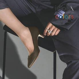 【 iCoN COLORS 】5.0cmヒール 痛くなりにくい 美脚 ポインテッドトゥ スムース カラーパンプス/C57173 (カーキ)