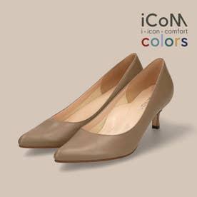 【 iCoN COLORS 】5.0cmヒール 痛くなりにくい 美脚 ポインテッドトゥ スムース カラーパンプス/C57173 (Dグレージュ)