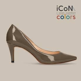 【 iCoN COLORS 】7.0cmヒール 痛くなりにくい 美脚 ポインテッドトゥ エナメル カラーパンプス/C76531 (DグレージュE)
