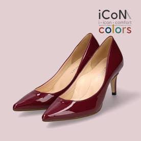 【 iCoN COLORS 】7.0cmヒール 痛くなりにくい 美脚 ポインテッドトゥ エナメル カラーパンプス/C76531 (ボルドーE)