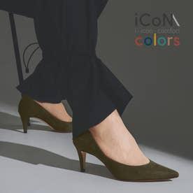 【 iCoN COLORS 】7.0cmヒール 痛くなりにくい 美脚 ポインテッドトゥ スエード カラーパンプス/C76532 (カーキS)