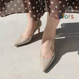 【 iCoN COLORS 】7.0cmヒール 痛くなりにくい 美脚 ポインテッドトゥ スムース カラーパンプス/C76533 (グレージュ)