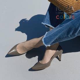 【 iCoN COLORS 】7.0cmヒール 痛くなりにくい 美脚 ポインテッドトゥ スムース カラーパンプス/C76533 (Dグレージュ)