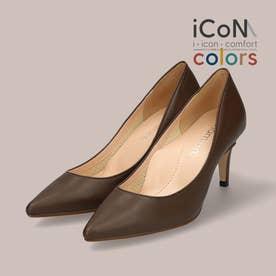 【 iCoN COLORS 】7.0cmヒール 痛くなりにくい 美脚 ポインテッドトゥ スムース カラーパンプス/C76533 (Dブラウン)