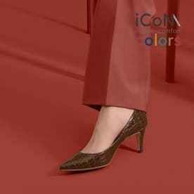 【 iCoN COLORS 】7.0cmヒール 痛くなりにくい 美脚 ポインテッドトゥ クロコ型押し カラーパンプス/C76534 (DブラウンCR)