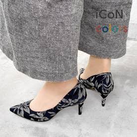 【 iCoN COLORS 】7.0cmヒール 痛くなりにくい 美脚 ポインテッドトゥ パターン カラーパンプス/C76536 (フラワー)