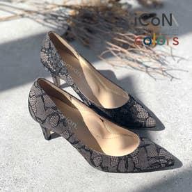 【 iCoN COLORS 】7.0cmヒール 痛くなりにくい 美脚 ポインテッドトゥ パターン カラーパンプス/C76536 (レース)