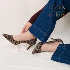 【 iCoN COLORS 】7.0cmヒール 痛くなりにくい 美脚 ポインテッドトゥ パターン カラーパンプス/C76536 (レオパード)