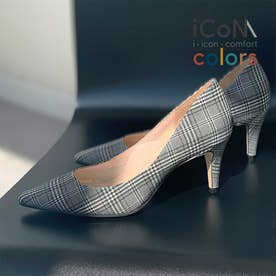 【 iCoN COLORS 】7.0cmヒール 痛くなりにくい 美脚 ポインテッドトゥ パターン カラーパンプス/C76536 (チェック)