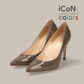 【 iCoN COLORS 】9.0cmヒール 痛くなりにくい 美脚 ポインテッドトゥ エナメル カラーパンプス/C9041 (DグレージュE)