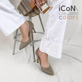 【 iCoN COLORS 】9.0cmヒール 痛くなりにくい 美脚 ポインテッドトゥ スエード カラーパンプス/C9042 (グレージュS)