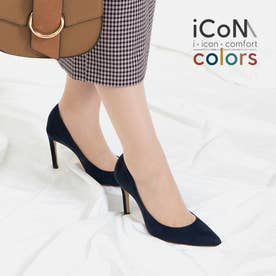【 iCoN COLORS 】9.0cmヒール 痛くなりにくい 美脚 ポインテッドトゥ スエード カラーパンプス/C9042 (ネイビーS)