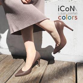 【 iCoN COLORS 】9.0cmヒール 痛くなりにくい 美脚 ポインテッドトゥ スムース カラーパンプス/C9043 (トープ)