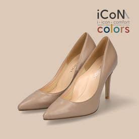 【 iCoN COLORS 】9.0cmヒール 痛くなりにくい 美脚 ポインテッドトゥ スムース カラーパンプス/C9043 (Dベージュ)