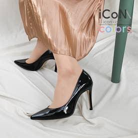 【 iCoN COLORS 】9.0cmヒール 痛くなりにくい 美脚 ポインテッドトゥ エナメル カラーパンプス/C9041 (ブラックE)