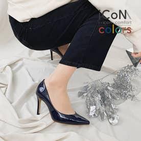【 iCoN COLORS 】9.0cmヒール 痛くなりにくい 美脚 ポインテッドトゥ エナメル カラーパンプス/C9041 (ネイビーE)