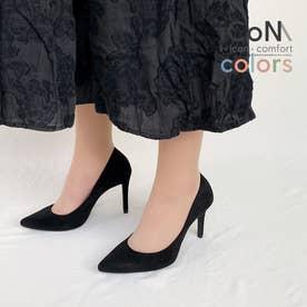 【 iCoN COLORS 】9.0cmヒール 痛くなりにくい 美脚 ポインテッドトゥ スエード カラーパンプス/C9042 (ブラックS)