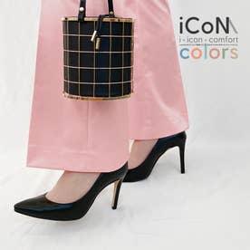 【 iCoN COLORS 】9.0cmヒール 痛くなりにくい 美脚 ポインテッドトゥ スムース カラーパンプス/C9043 (ブラック)