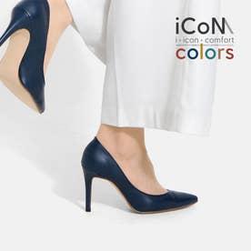 【 iCoN COLORS 】9.0cmヒール 痛くなりにくい 美脚 ポインテッドトゥ スムース カラーパンプス/C9043 (ネイビー)