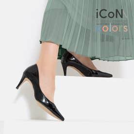 【 iCoN COLORS 】7.0cmヒール 痛くなりにくい 美脚 ポインテッドトゥ エナメル カラーパンプス/C76531 (ブラックE)