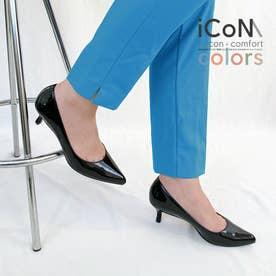 【 iCoN COLORS 】5.0cmヒール 痛くなりにくい 美脚 ポインテッドトゥ エナメル カラーパンプス/C57171 (ブラックE)