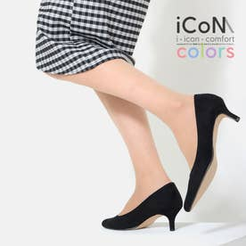 【 iCoN COLORS 】5.0cmヒール 痛くなりにくい 美脚 ポインテッドトゥ スエード カラーパンプス/C57172 (ブラックS)