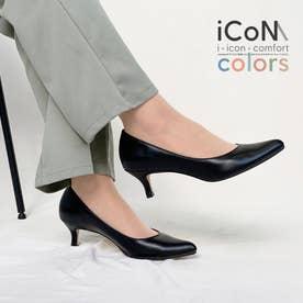 【 iCoN COLORS 】5.0cmヒール 痛くなりにくい 美脚 ポインテッドトゥ スムース カラーパンプス/C57173 (ブラック)
