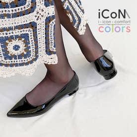 【 iCoN COLORS 】1.5cmヒール 痛くなりにくい 美脚 ポインテッドトゥ エナメル カラーパンプス/C20141 (ブラックE)