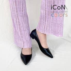 【 iCoN COLORS 】1.5cmヒール 痛くなりにくい 美脚 ポインテッドトゥ スムース カラーパンプス/C20143 (ブラック)