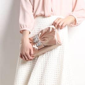 ビジュー帯リボンパーティーバッグ (ピンク)