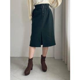 フロントボタンIラインスカート(グリーン)