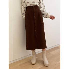 フロントボタンポケ付ナロースカート(ブラウン)