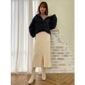 ケーブルロングIラインスカート(ホワイト)
