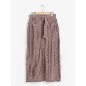 ケーブルロングIラインスカート(ブラウン)