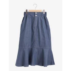 バックレースアップデニムマーメイドスカート(ブルー)