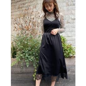 裾レースサテンキャミワンピ(ブラック)