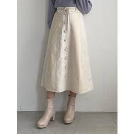 フェイクレザーコンビスカート(ホワイト)