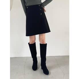 サイドボタンAラインミニスカート(ブラック)