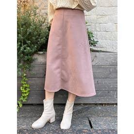 フェイクスウェードフレアスカート(ピンク)