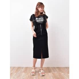 サス付フロントZIPタイトスカート(ブラック)