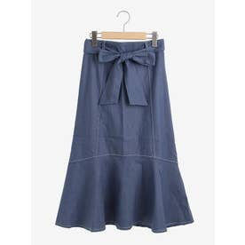 ウエストリボン付デニムマーメイドスカート(ブルー)