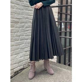 ∞フェイクレザープリーツスカート(ブラック)
