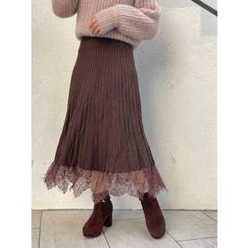 裾レースニットプリーツスカート(ブラウン)