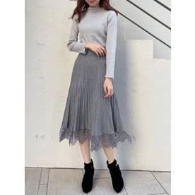 裾レースニットプリーツスカート(グレー)