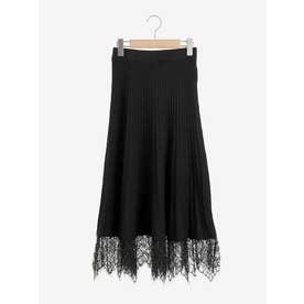 裾レースニットプリーツスカート(ブラック)